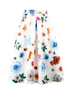 Falda Plisada A-Line De La Impresión De La Flor De Waisted Alta - Blanco M