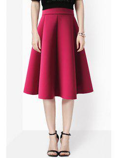Falda Plisada De Una Línea De Color Sólido De Alta Cintura - Vino Rojo Xl
