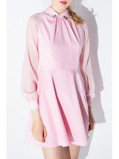 Flat Collar Rhinestone Embellished Pink Dress - Pink Xl