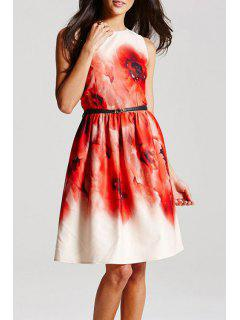 Sleeveless Large Floral Dress With Belt - White M