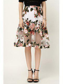 Jacquard Flower Print See-Through Voile Skirt - S
