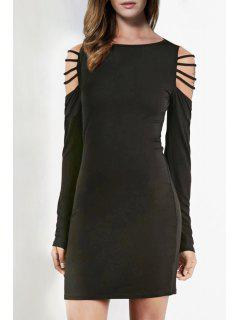 Long Sleeve Hollow Shoulder Bodycon Dress - Black Xs