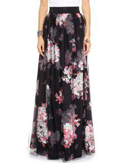 Full Flower Print High Waist Skirt - Black M
