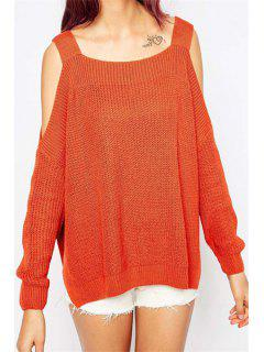Long Sleeve Off-The-Shoulder Sweater - Orange Red