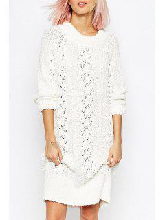 Openwork White Sweater Dress - White