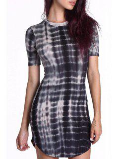Abstract Print Gradient Color Round Collar Short Sleeves Dress - Black Xs