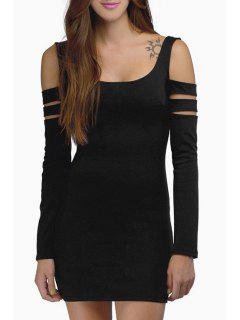 Cut Out Scoop Neck Long Sleeve Bodycon Dress - Black Xl