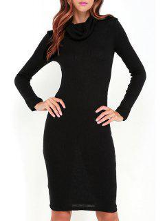 Black Heaps Collar Long Sleeve Sweater Dress - Black Xl