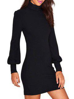 Solid Color Turtle Neck Long Sleeves Dress - Black L