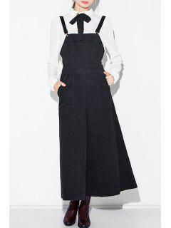 High Waisted Solid Color Palazzo Overalls - Black Xl
