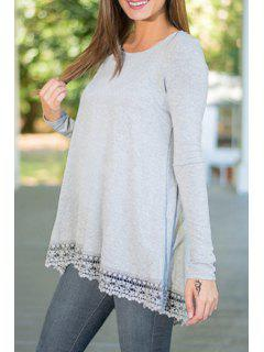 Lacework Spliced Long Sleeve T-Shirt - Gray M