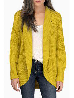 Solid Color Hollow Out Long Sleeves Cardigan - Yellow Xs