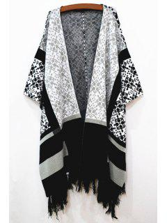 Long Sleeve Geometric Pattern Cape - White And Black
