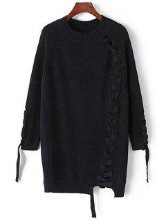 Solid Color Unique Cross Bandage Long Sleeves Sweater - Black