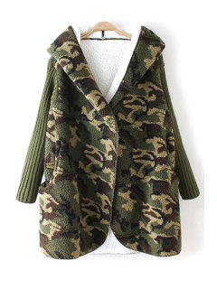 Hooded Fleece Camo Coat - Green