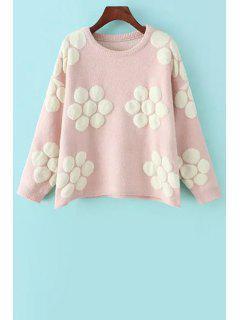 Flower Pattern Jacquard Sweater - Pink