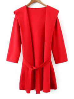 Hooded Solid Color Belted Cardigan - Red