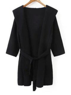 Hooded Solid Color Belted Cardigan - Black