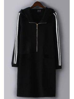 White And Black Striped Hooded Neck Long Coat - Black L