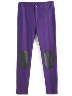 PU Leather Spliced Narrow Feet Pants - Purple L