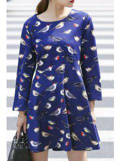 Bird Print Fit And Flare Dress - Blue 2xl
