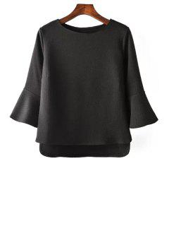 Pure Color Jewel Neck 3/4 Sleeve Blouse - Black S