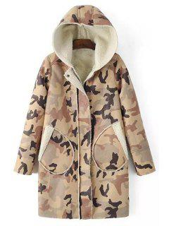 Camouflage Print Hooded Long Sleeve Coat - Brown S