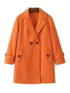 Pure Color Long Sleeves Lapel Collar Coat - Orange M