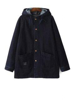 Pure Color Denim Hooded Long Sleeve Coat - Black M
