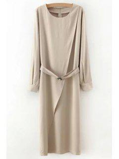 Solid Color Sashes Round Collar Long Sleeves Dress - Light Khaki M
