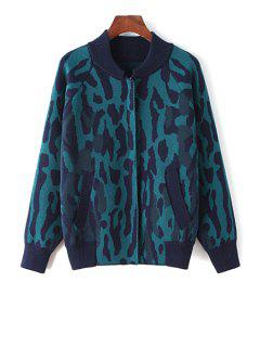 Stand Neck Camoflage Cardigan - Green