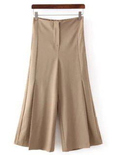 Solid Color All Match Loose Fitting Palazzo Pants - Khaki M