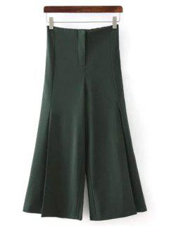 Solid Color All Match Loose Fitting Palazzo Pants - Green M