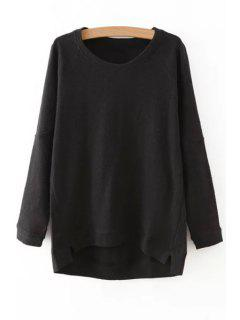 Solid Color Irregular Hem Round Collar Sweatshirt - Black