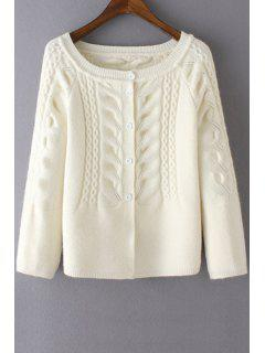Cable-Knit Scoop Neck Long Sleeve Cardigan - White