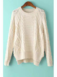 Solid Color High-Low-Hem Round Collar Sweater - Off-white
