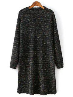 Round Collar Long Sleeves Colormix Sweater Dress - Black