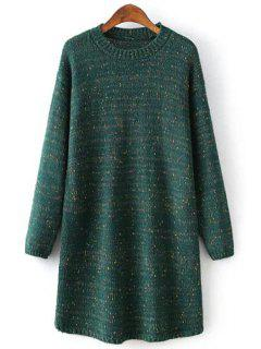 Round Collar Long Sleeves Colormix Sweater Dress - Blackish Green