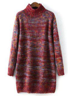 Turtle Neck Long Sleeves Thicken Sweater Dress - Red