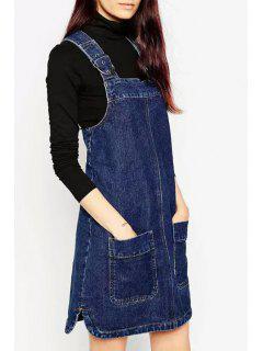 Blue Zippered Denim Suspender Skirt - Blue S