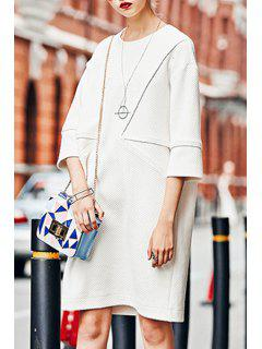 3/4 Sleeve Loose-Fitting Sweater Dress - White S