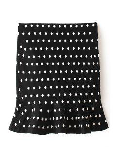 Flouncing Polka Dot Bodycon Skirt - Black