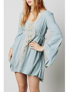 Lace Spliced Square Neck Long Sleeve Dress - Light Blue L