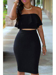 Ruffled Tube Top + High-Waisted Pencil Skirt Twinset - Black