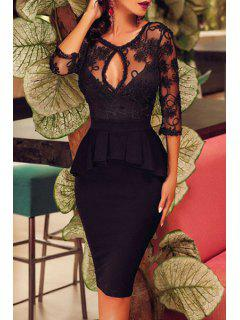 See-Through Ruffles Spliced Solid Color Bodycon Dress - Black