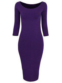 3/4 Sleeve Pure Color Bodycon Dress - Purple Xl