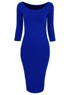 3/4 Sleeve Pure Color Bodycon Dress - Sapphire Blue Xl