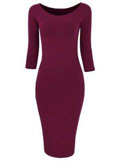 3/4 Sleeve Pure Color Bodycon Dress - Wine Red Xl