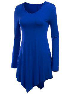 Irregular Hem V Neck Long Sleeve T-Shirt - Sapphire Blue M
