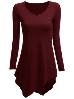 Irregular Hem V Neck Long Sleeve T-Shirt - Wine Red S
